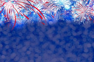 Firework with bokeh background