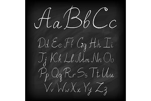 Chalk board hand drawn alphabet letters.