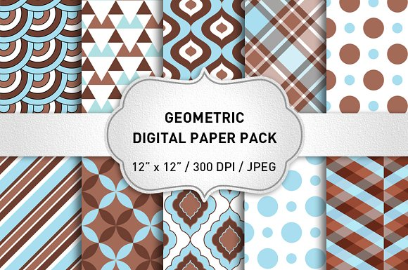 Light Blue And Brown Digital Paper