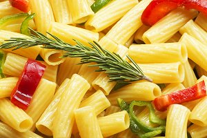 Close-up of a pasta dish with vegetables.