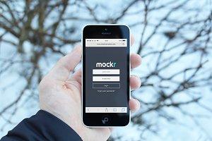 Realistic iPhone 5c Mockup x2 Scenes