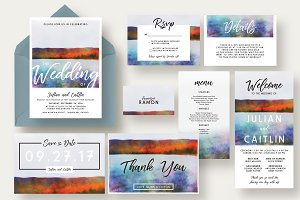 Autumn Lake Wedding Invitation Suite