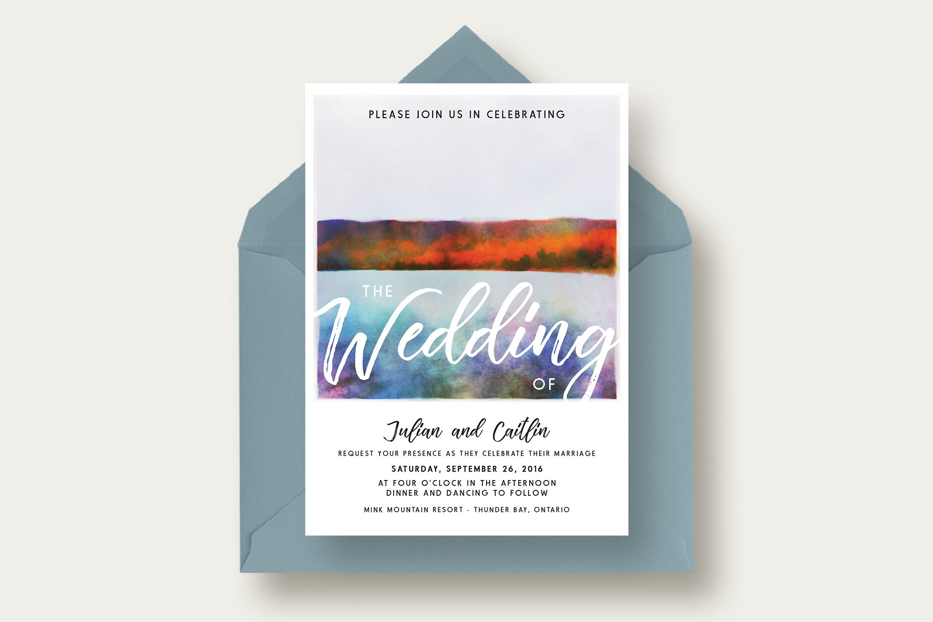 Autumn Lake Wedding Invitation Suite - Invitation Templates ...