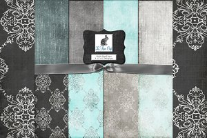 Teal & Gray Damask Backgrounds