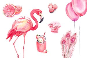 Pink watercolour collection