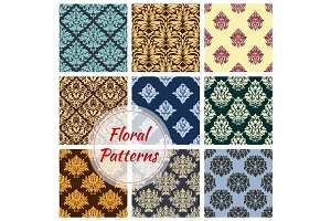 Floral seamless vector patterns of flower ornament