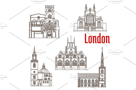 London Architecture Famous Landmarks Vector Icons