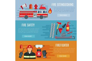 Firefighting or fire safety vector banners