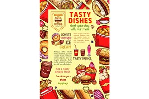 Fast food dishes and fastfood meals vector poster
