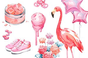 Pink watercolour collection №3