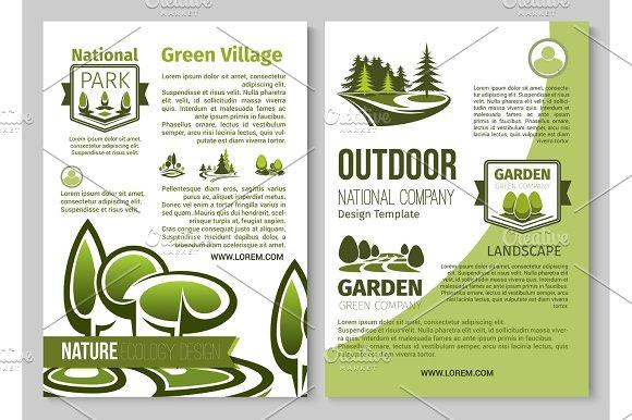 Green Nature Vector Poster Of Parks Landscape