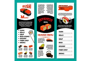 Sushi bar vector menu template of Japanese dishes