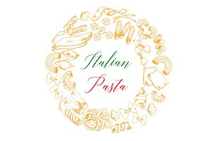 Italian pasta or macaroni vector poster