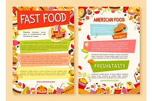 Fast food vector poster of fastfood dish and meals
