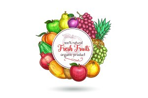 Vector exotic fresh natural fruits poster