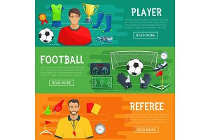 Football vector banners of soccer game items