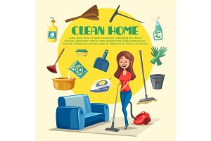 House or room cleaning vector poster