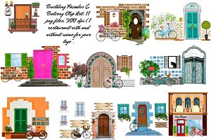House/Bldg Facade & Balcony Clip Art