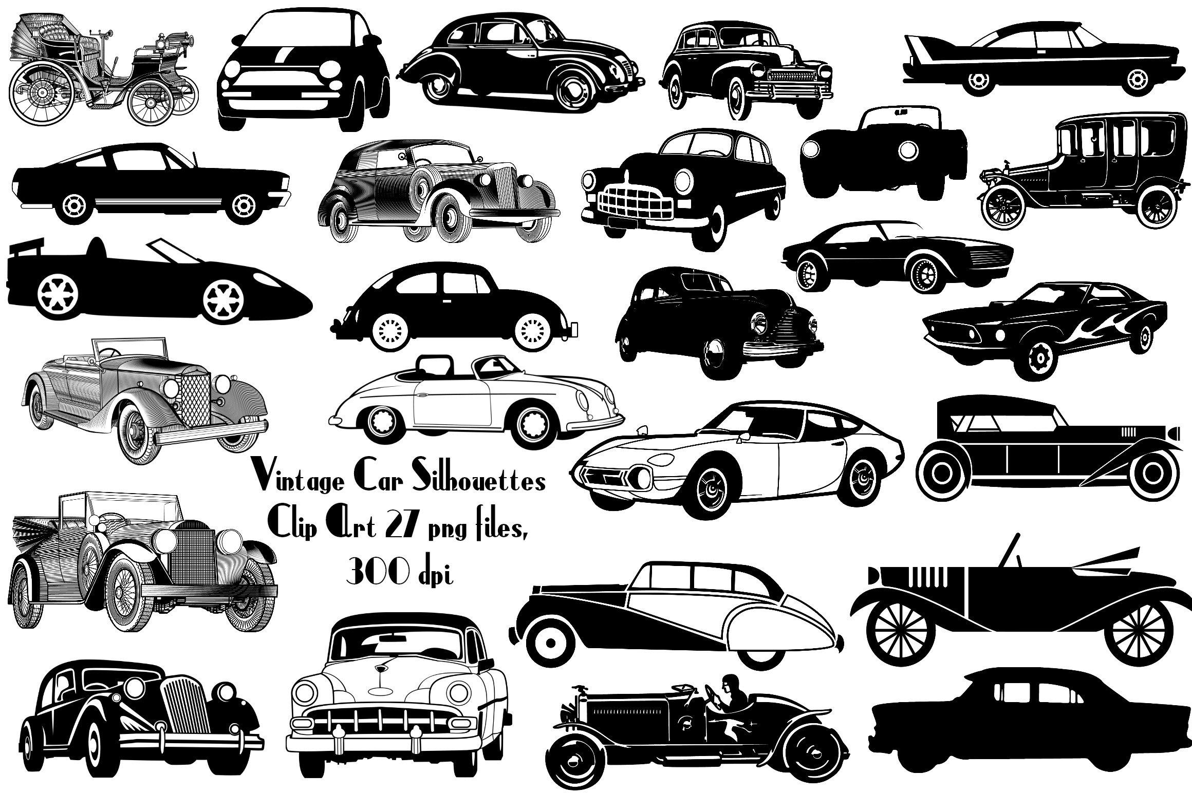 Vintage Car Silhouettes AI EPS PNG ~ Illustrations ~ Creative Market