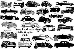 Vintage Car Silhouettes AI EPS PNG
