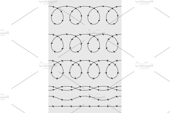 Wire Barb Vector Fence Seamless Background Illustration Isolated On White Protection Concept Design