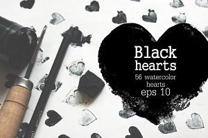 Set of black watercolor hearts