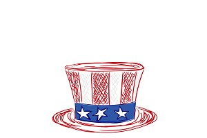 American hat, sketch style, vector