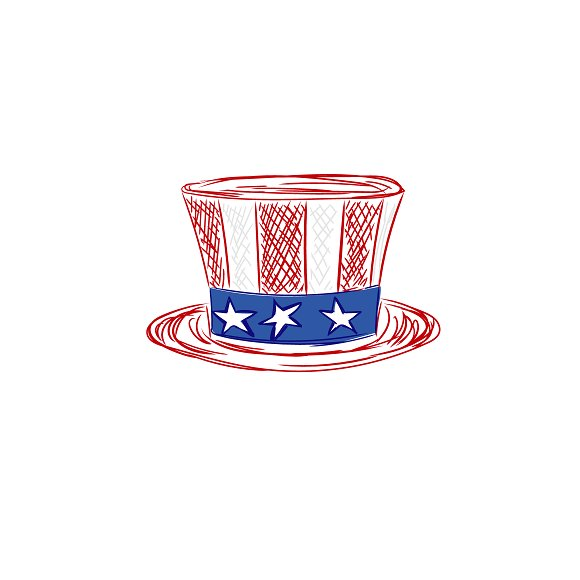 American Hat Sketch Style Vector