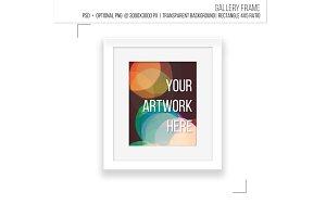 Minimalist white gallery frame.