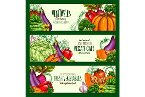 Vegetables harvest vegan cafe vector banners set
