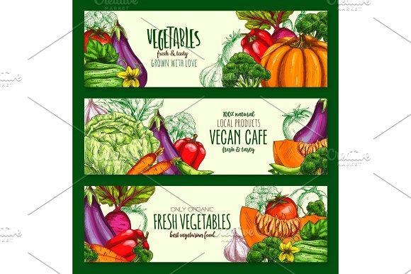 Vegetables Harvest Vegan Cafe Vector Banners Set