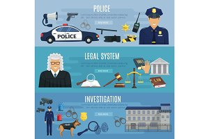 Vector banners of police and legal system judge