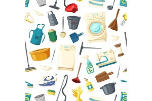 Vector seamless pattern of home cleaning items