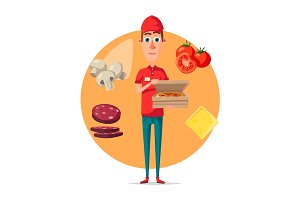 Vector poster of pizza delivery man for pizzeria
