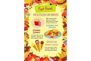 Fast food vector poster of fastfood snacks