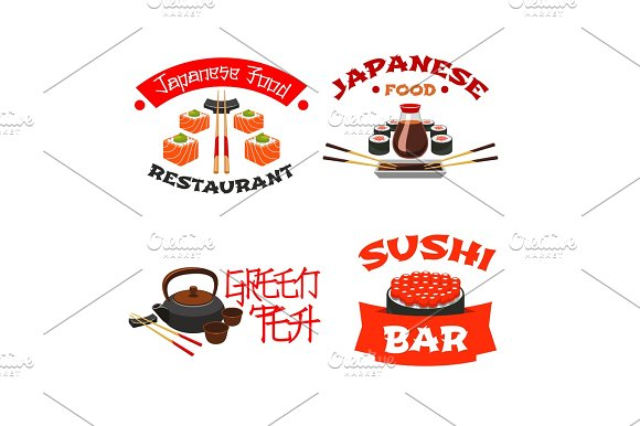 Vector Isolated Icons For Sushi Bar Or Restaurant