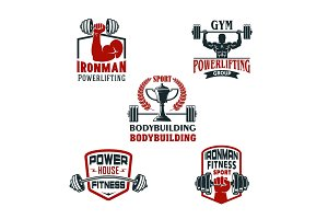 Vector icons bodybuilding gym or powerlifting club