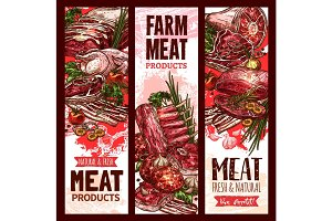 Vector raw fresh farm meat banners for butchery