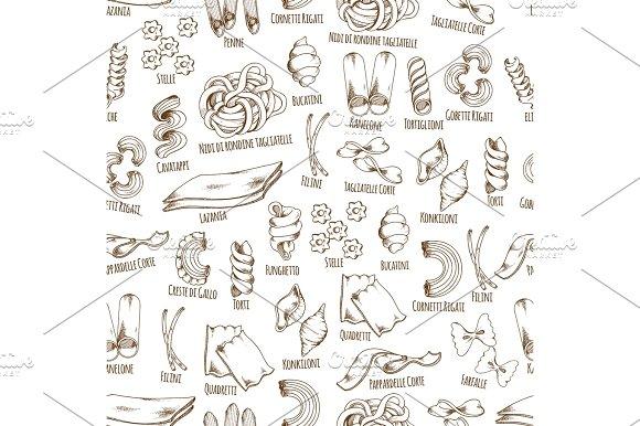 Italian Pasta Names Vector Seamless Pattern