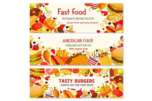 Fast food vector banners of fastfood meal snacks