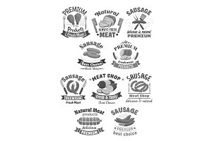 Vector butchery meat and sausages shop icons set