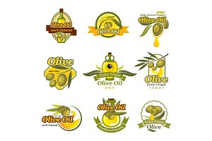 Olive oil product vector labels set of olives