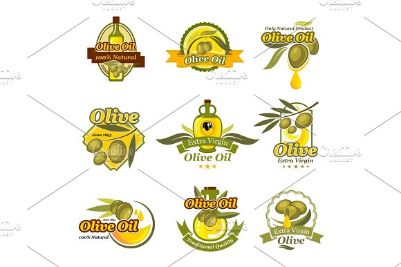 Olive Oil Product Vector Labels Set Of Olives