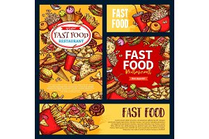 Fast food vector templates set of fastfood meals