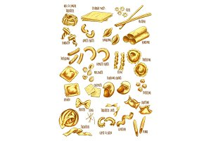Italian pasta names vector sketch icons set