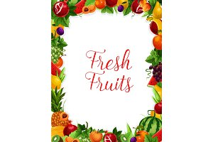 Vector exotic fresh natural fruits frame poster