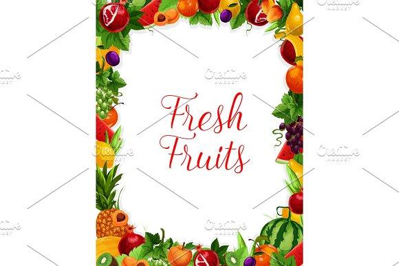 Vector Exotic Fresh Natural Fruits Frame Poster