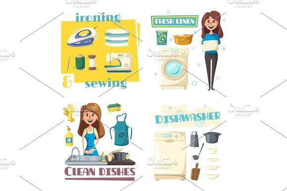 Vector Home Cleaning And Washing Woman Ironing