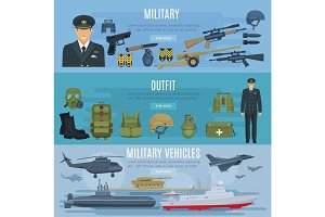 Vector banners military forces vehicles and outfit