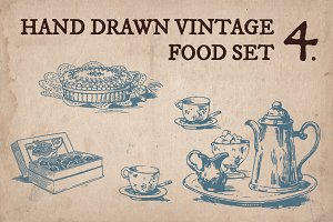 Hand Drawn Vintage Food Set 4